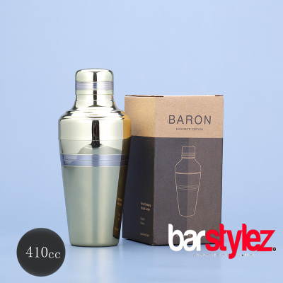 3 Piece Baron Shaker 410ml - Gold Plated Silver Strip