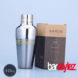 3 Piece Baron Shaker 410ml - Gold Strip